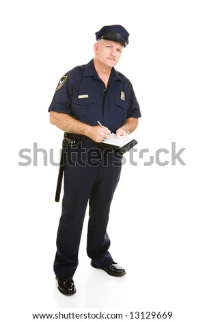 Police officer in uniform with his citation book.  Full body isolated on white. - stock photo