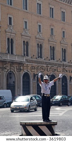 Police Officer On Traffic Duty, Rome, Italy - stock photo