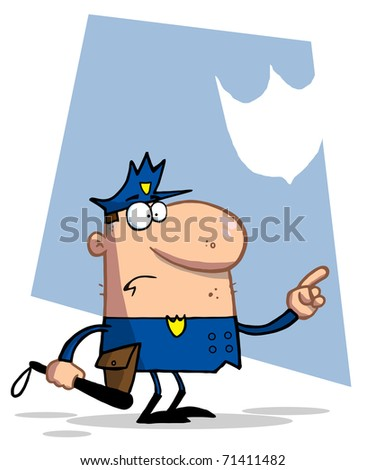 Police Officer Pointing And Holding A Club - stock photo
