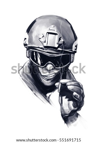 Police officer SWAT with cigarette isolated on white background. Funny hand drawn illustration cartoon