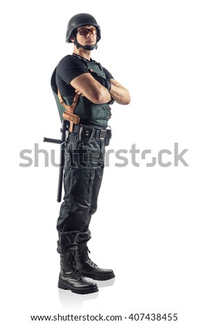 Police officer with crossed arms  is looking on you. Isolated on white. - stock photo