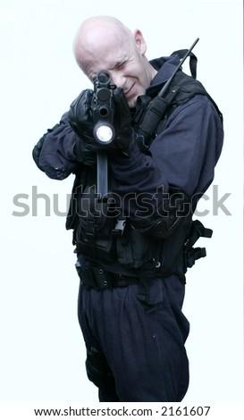 police officer with machine gun - stock photo