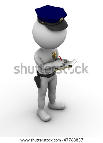 Police officer writing a traffic citation - stock photo