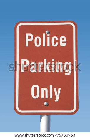Police parking only -traffic sign against clear blue sky - stock photo