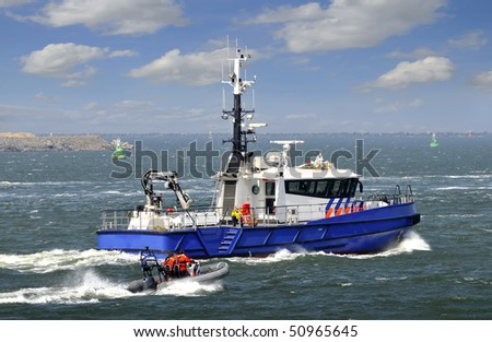 Police patrolling boat Port Europoort - stock photo