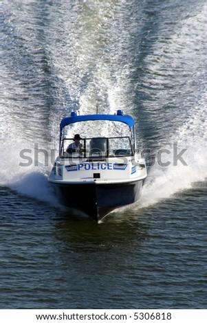 Police security speedboat - stock photo