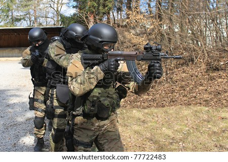 police special forces - stock photo