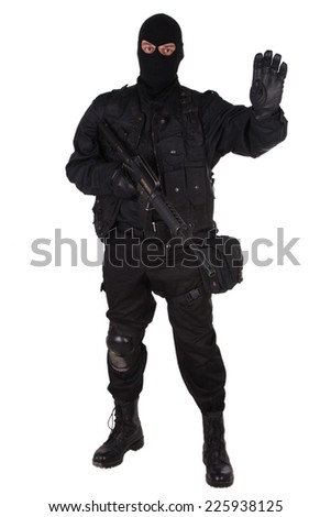 police special forces officer in black uniform isolated on white