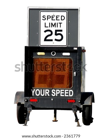 Police speed limit monitor trailer with infraction display isolated on white - stock photo