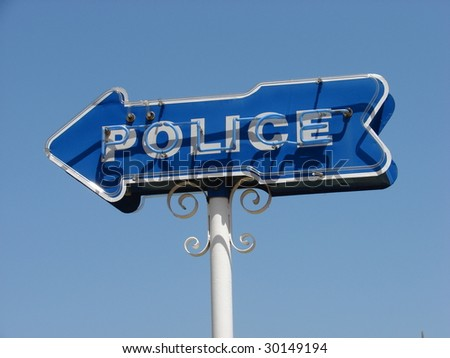 Police Station Sign - stock photo