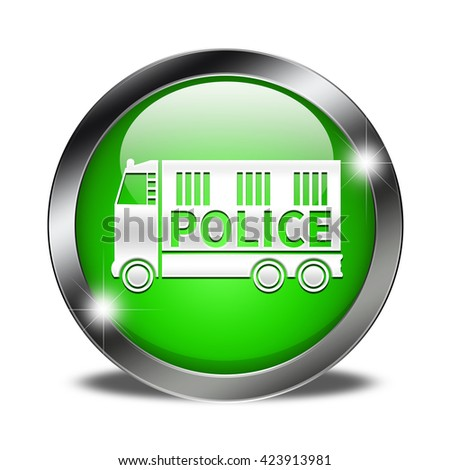 Police van button isolated