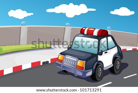 Police vehicle on the road - EPS VECTOR format also available in my portfolio.