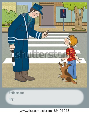 Police warned the boy about the danger of - stock photo