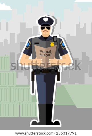 Police with a report of a standing ovation. Police officers were arrested - stock photo