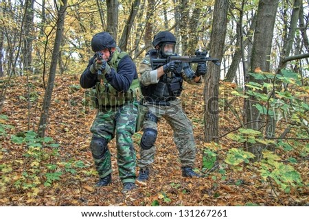Police with a weapon, a special unit - stock photo