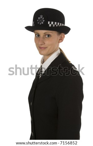 Police woman looking to side smiling isolated on white - stock photo