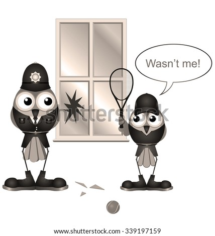 Policeman catches boy breaking window isolated on white background
