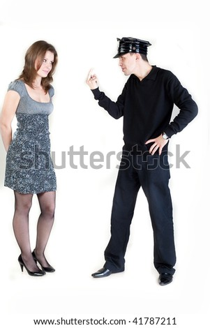 Policeman Flipping Off woman