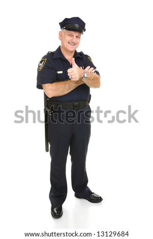 Policeman giving the thumbs up sign.  Full body isolated on white.