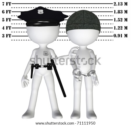 Policeman holds criminal in a lineup mugshot of cop and busted perp - stock photo
