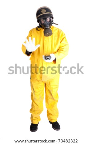 Policeman in gas-mask and Hazmat clothing with geiger counter isolated over white background - stock photo