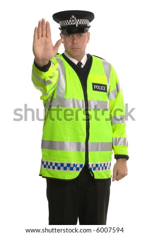 Policeman in reflective jacket ordering you to STOP. - stock photo