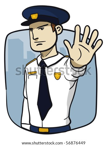 Policeman saying stop. Not allowed. - stock photo