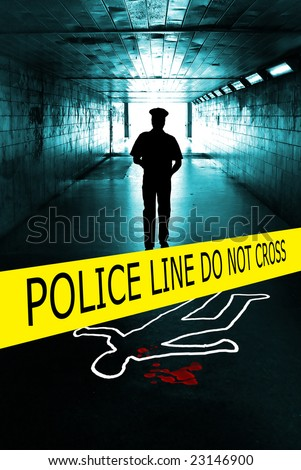 policeman under a tunnel on a crime scene with yellow boundary tape - stock photo