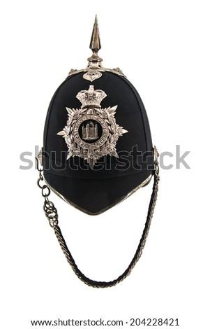 Policemans helmet on white background - stock photo