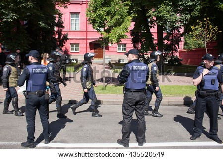 Policemen at Kiev pride gay parade, 12.06.2016 - stock photo