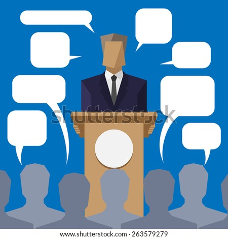 policies behind the podium to the people with speech bubbles - stock photo