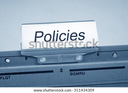 Policies Folder Register Index in the office