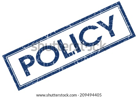 Policy blue square grungy stamp isolated on white background - stock photo