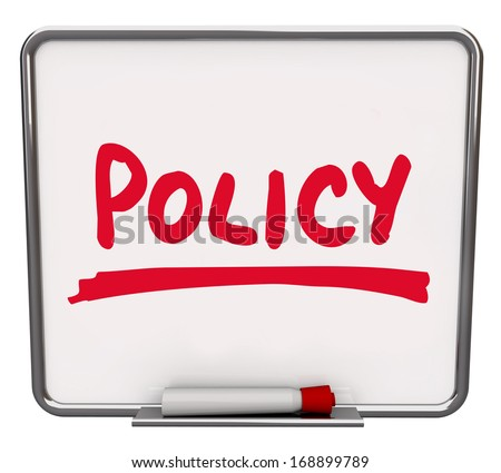 Policy Word Notice Board Rules Guidelines Compliance - stock photo