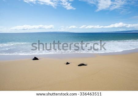 Polifua Beach, Lanai, Hawaii -1 - stock photo