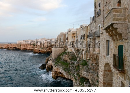 Polignano a mare, scenic small town built on rocks in Puglia, Italy