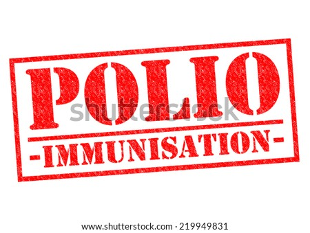 POLIO IMMUNISATION red Rubber Stamp over a white background. - stock photo