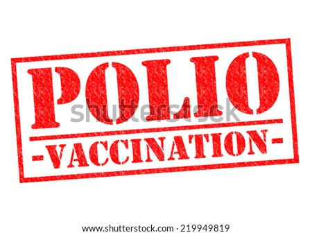 POLIO VACCINATION red Rubber Stamp over a white background. - stock photo