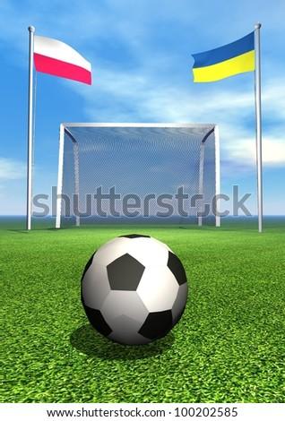 Polish and ukrainian flags, soccer ball, goal on green playground field - stock photo