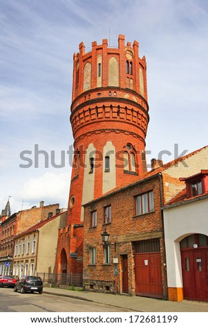 Polish architecture in Chelmno, tower the water reservoir, Poland