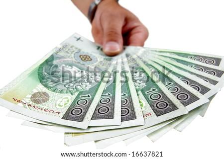 Polish banknote hundred giving isolated on white background - stock photo