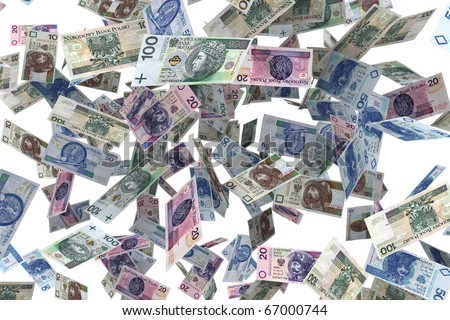 Polish banknotes Falling banknotes - the rain of money - stock photo