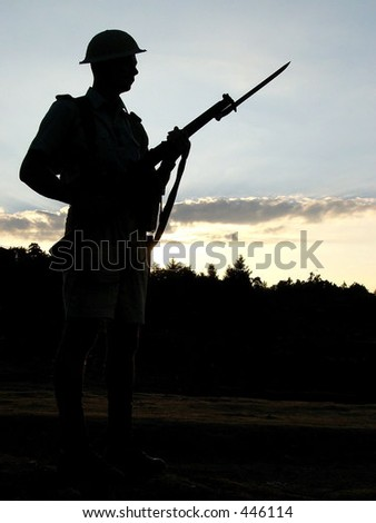 Polish Carpathian rifleman during sunset (photo from Operation South 2005, Poland, Bielsko-Biala). - stock photo