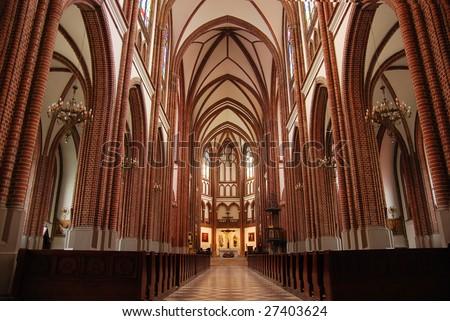 Polish catholic cathedral inside interior - stock photo