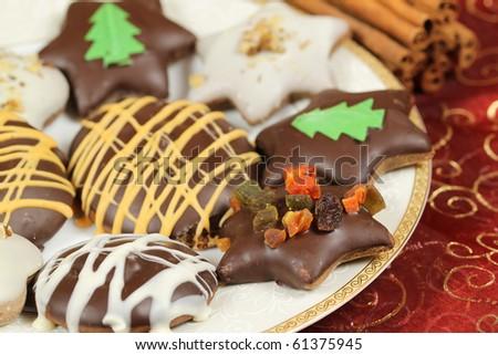 Polish Christmas gingerbread cookies - traditional Xmas sweets - stock photo