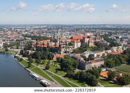 Polish city of Krakow, the view from the heights of the Wawel Castle