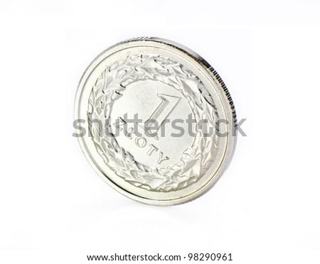 Polish coins. 1 zloty. - stock photo