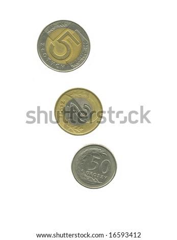 Polish coins Zloty isolated on white - stock photo