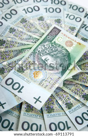 Polish currency banknotes, 100 Zloty - stock photo