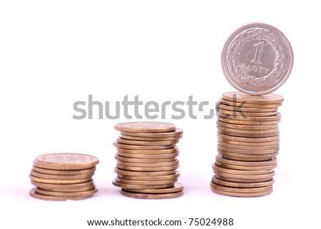 Polish currency / Money PLN on white background - stock photo